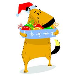 christmas dog character cute pet in santas hat vector image vector image