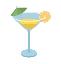 Lemon cocktail icon in cartoon style isolated on vector image