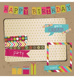 Retro Birthday Celebration Design Elements vector image vector image