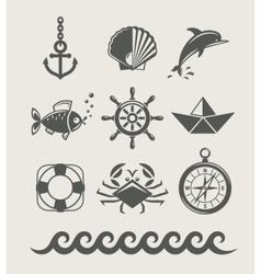 Sea and marine symbol set vector