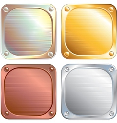 Square Metallic Plates Signs vector image vector image