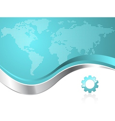 World map with gear business background vector