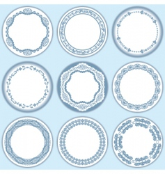 9 feminine blue labels set vector image
