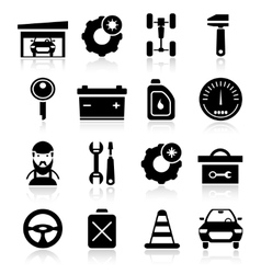 Auto Service Black White Icons Set vector image vector image
