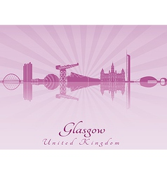 Glasgow skyline in purple radiant orchid vector image