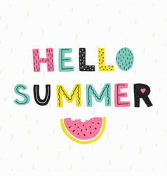 hello summer poster hand draw style vector image vector image