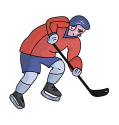 hockey player in full gear with a stick playing vector image
