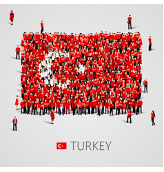 large group of people in the shape of turkish flag vector image