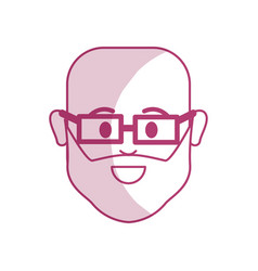 Silhouette head man with beard and glasses in the vector