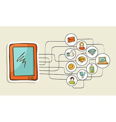 Social media tablet computer concept vector image