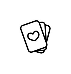 Thin line playing cards icon vector