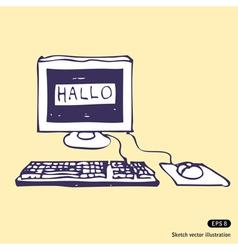 Computer says Hallo vector image