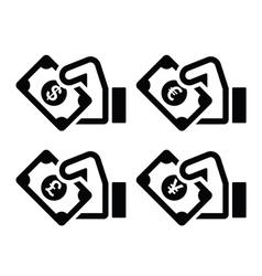Hand with money icon - dollar euro yen pound vector image vector image