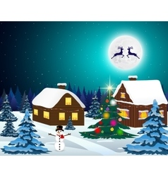 Night christmas forest landscape vector image vector image