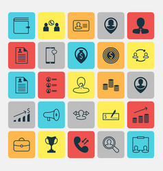 Resources icons set collection of anonymous job vector