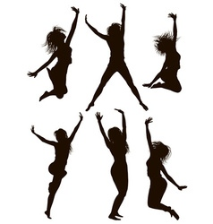 Silhouettes of Girls Jumping vector image vector image