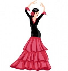 woman dancing Spanish dance vector image