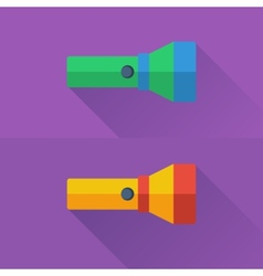 Yellow and green flashlights in flat style on vector image