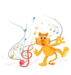 A tiger with musical notes vector image vector image