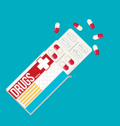 blister pack of pills flat vector image