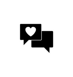 Love chat solid icon heart in speech vector
