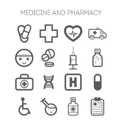 Set of simple medical icons vector image vector image