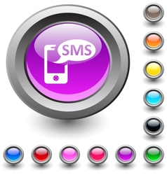 SMS round button vector image