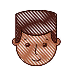 Young man black head avatar character vector