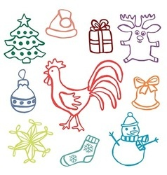 2017 chrismas cute doodle icon set vector image