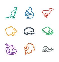 9 wildlife icons vector