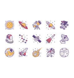 Astronomy color icons set space exploration vector