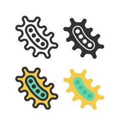 bacteria microbe virus outline icon set vector image