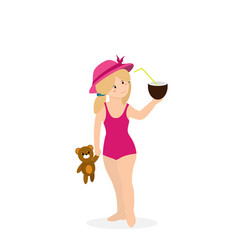 bagirl in swimming suit isolated clip art vector image