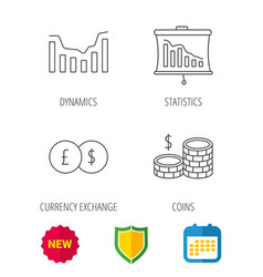 Banking cash money and statistics icons vector