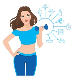 Beautiful slim girl and components of its success vector image