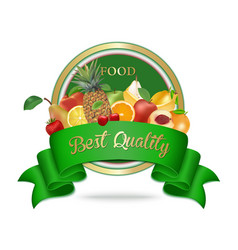 Best quality fresh organic food label badge or vector