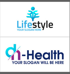 Blue human and letter dh wellness health logo vector