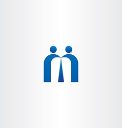 Blue letter m people business icon vector