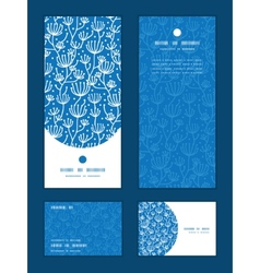 blue white lineart plants vertical frame pattern vector image