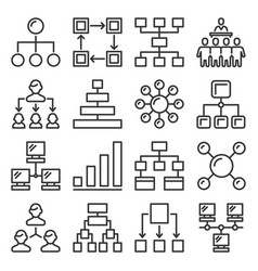 business hierarchy structure icons set on white vector image