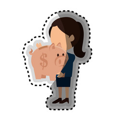 Businessman with piggy isolated icon vector