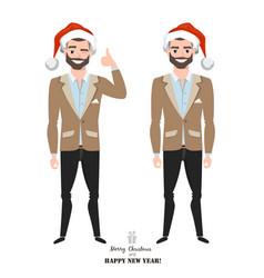 businessman with santa cap vector image