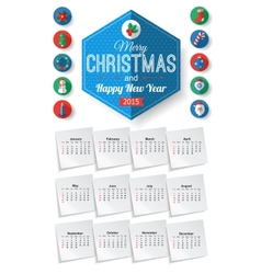 Calendar template with christmas typographical vector