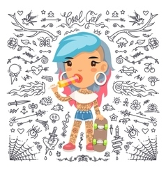 Cartoon Cute Tattoo Girl with Skateboard vector image