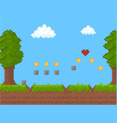 cartoon pixel art nature scene background card vector image