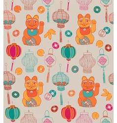 Chinese lanterns lucky cat vector