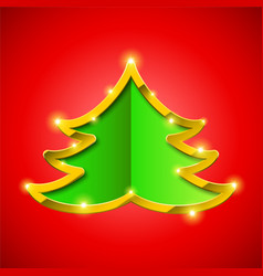Christmas tree card with golden border vector