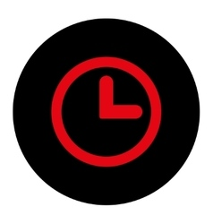 Clock flat intensive red and black colors round vector