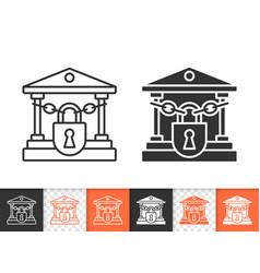 closed bank simple black line icon vector image