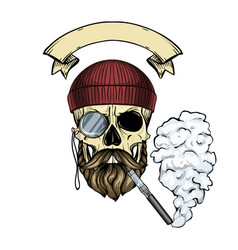 color hipster skull vector image